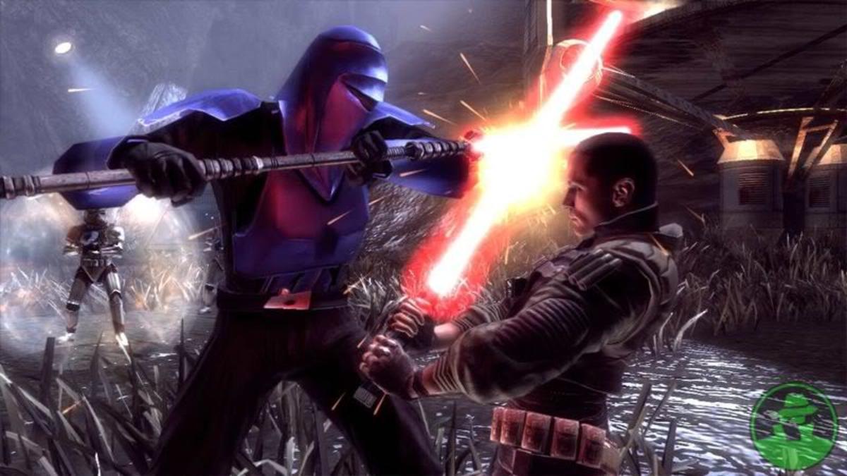 Member of the Imperial Senate Guard engaging Starkiller (Darth Vader's secret apprentice).