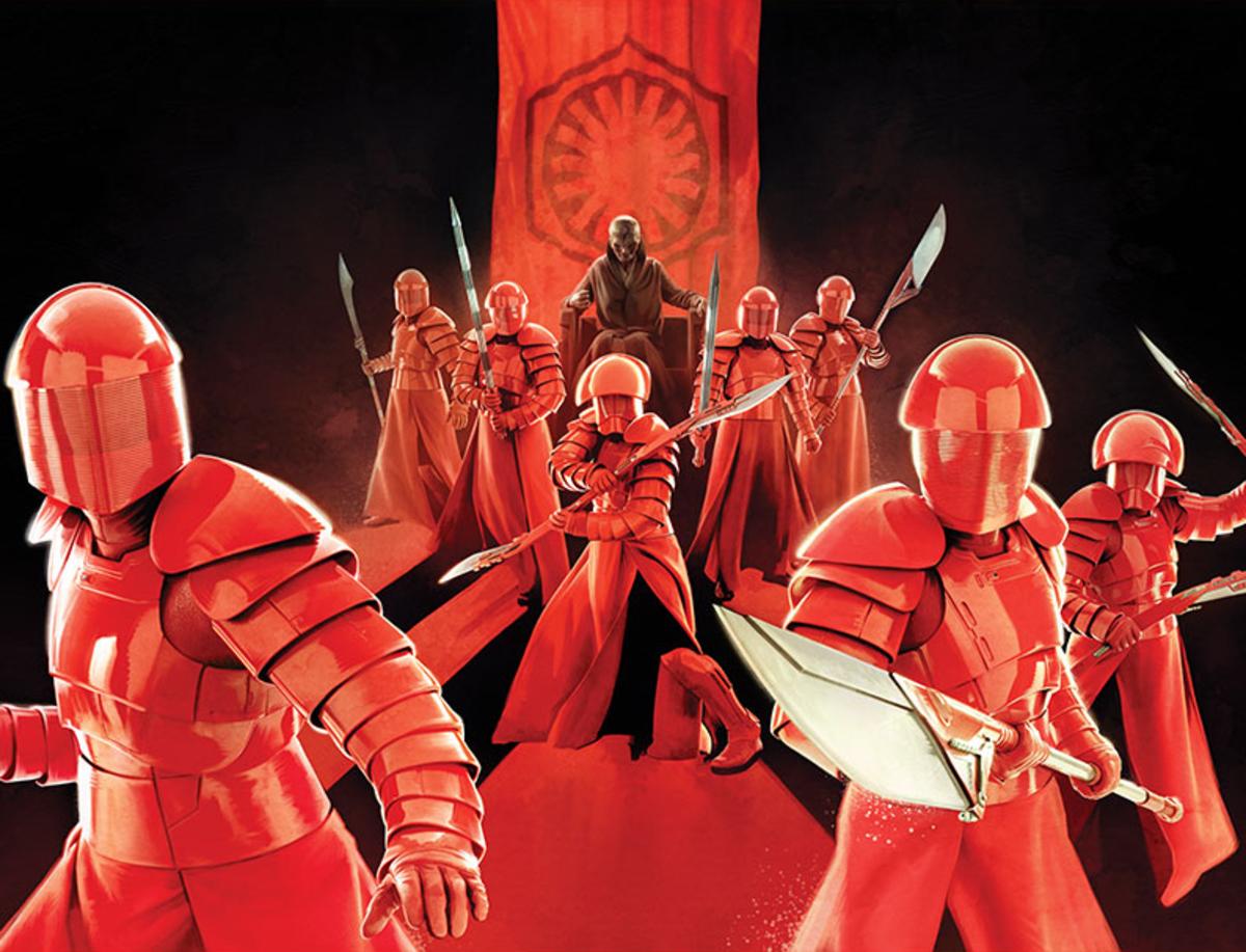 Members of the Elite Praetorian Guard standing watch over Supreme Leader Snoke.