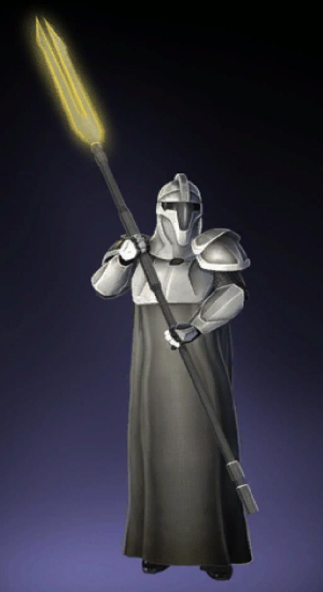 An Imperial Senate Sentinel standing guard near the former Jedi Temple.