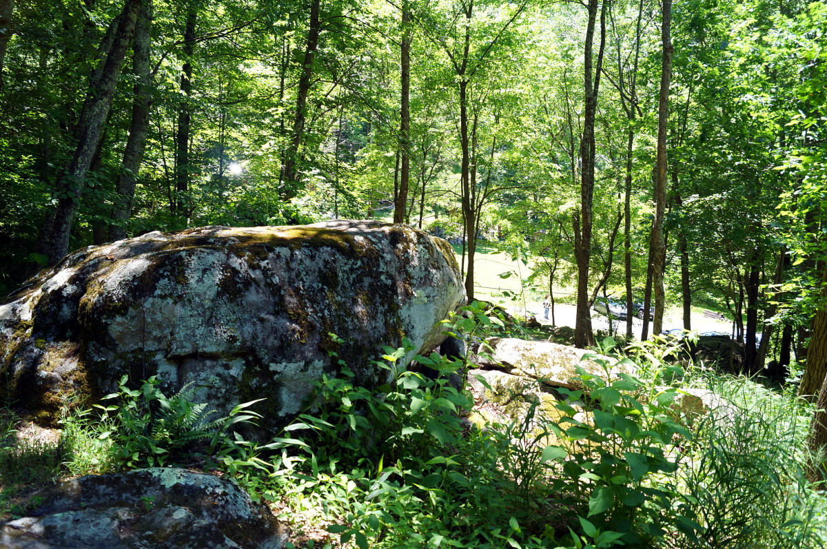 The retreat center was surrounded by lots of forest. These rock outcroppings proved to be a great place for sitting and meditating.