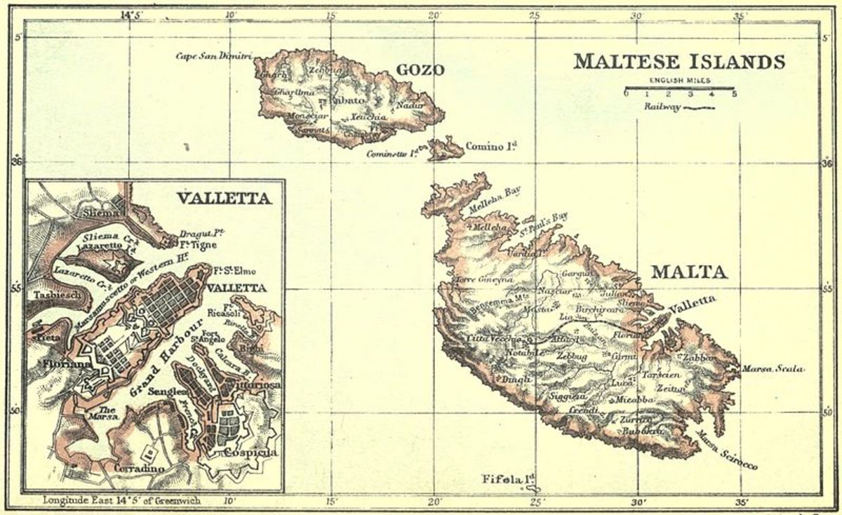 A map of Malta, dating 1906.