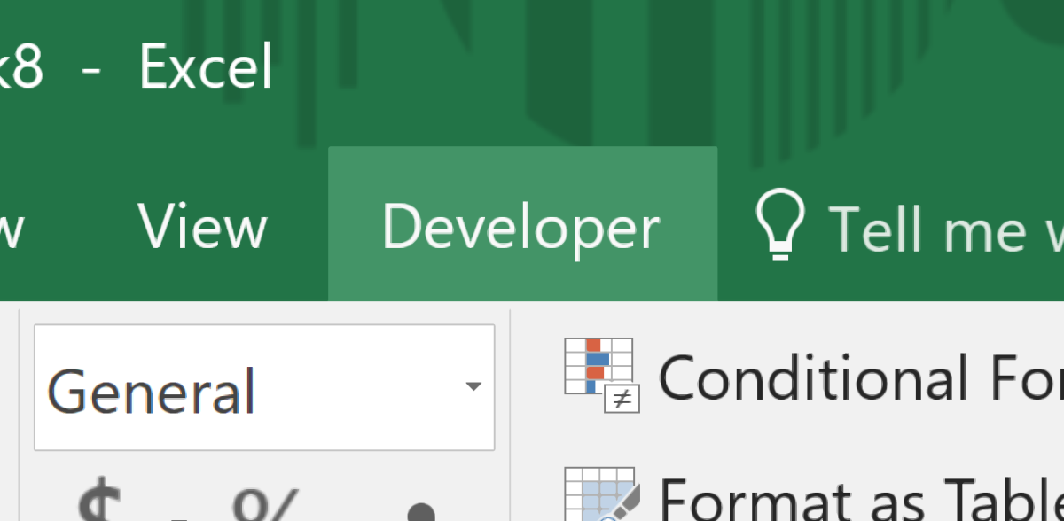 How to Add the Developer Tab in MS Excel 2016