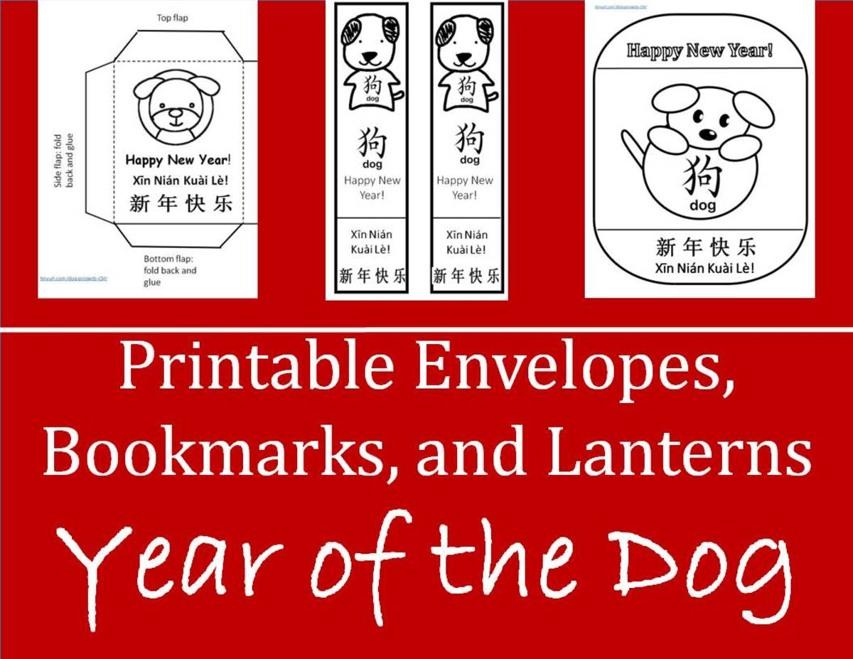 Printable Envelopes, Bookmarks, and Lanterns for Year of the Dog: Kid Crafts for Chinese New Year