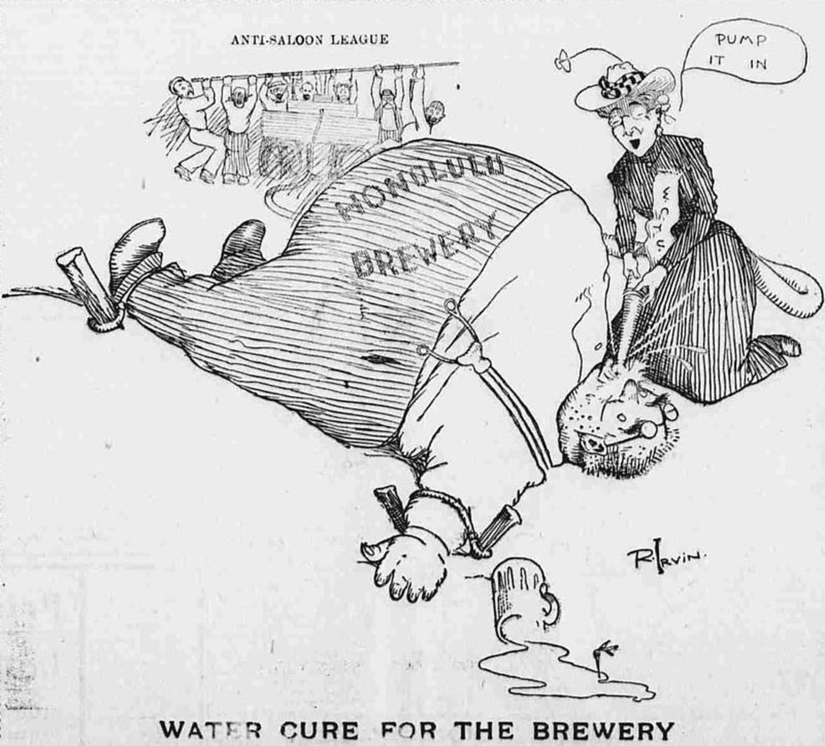 Illustration from Hawaiian Gazette about anti Saloon League.