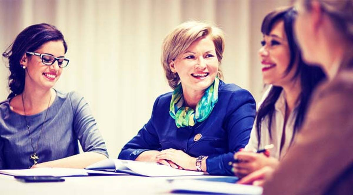Women in the boardroom.