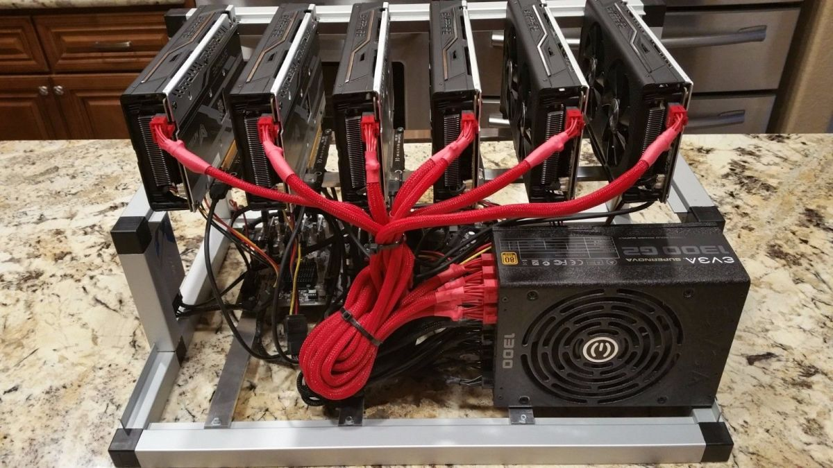6 GPU Monero mining rig with frame