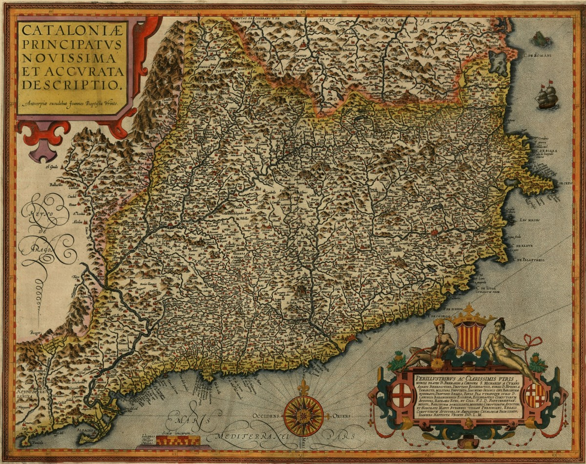 Map of Catalonia, 1608