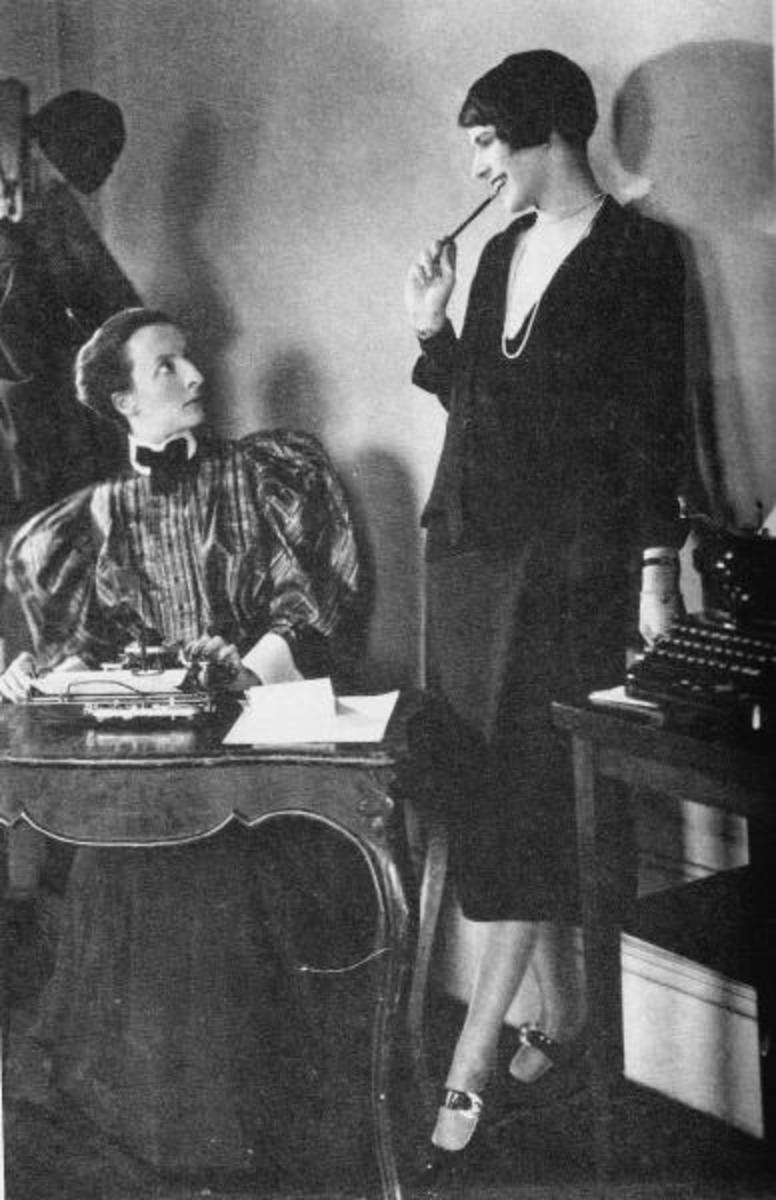 Lois Long (standing) is getting a disapproving look from a staff member from an earlier era.