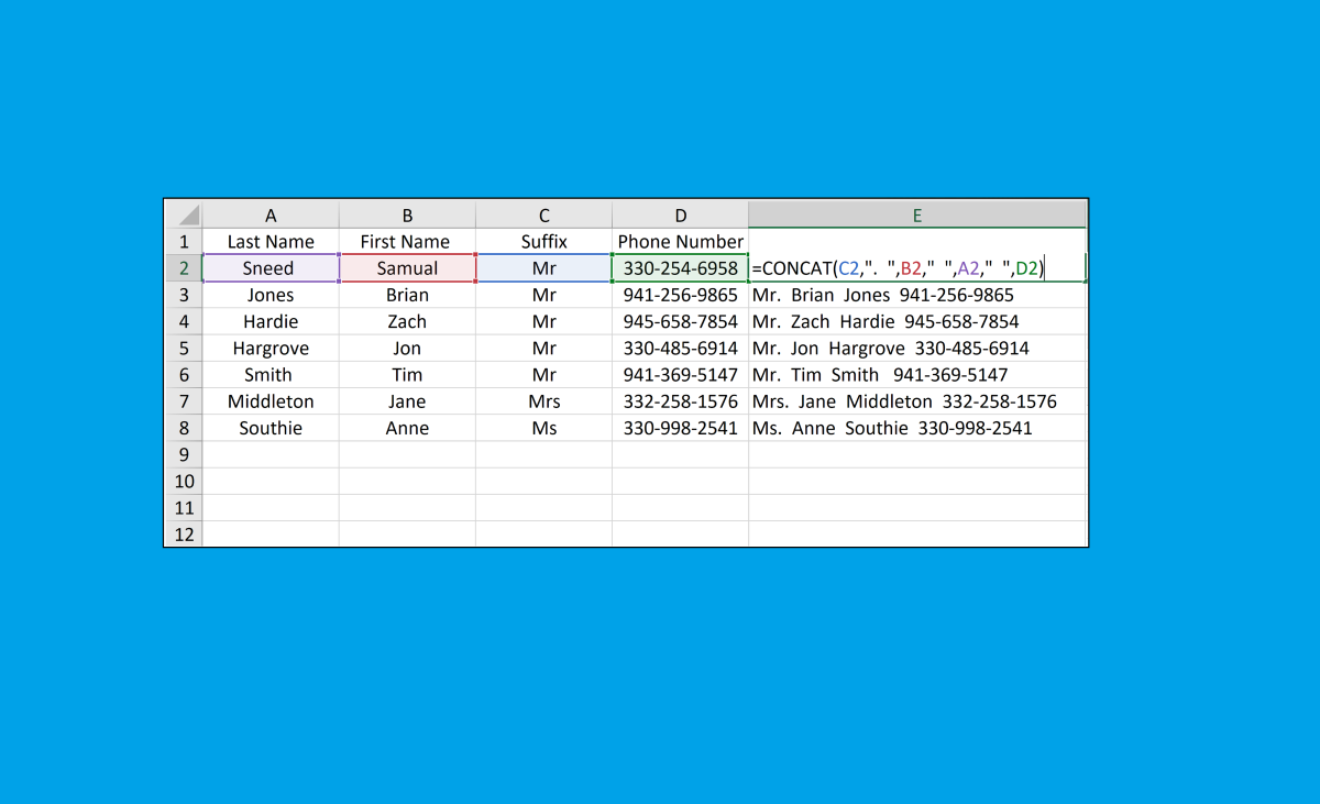 The concatenate formula can be used to concatenate text strings, dates, general numbers, categorical data, or any text the needs to be merged from multiple columns. This function has a vast amount of applications in Excel.