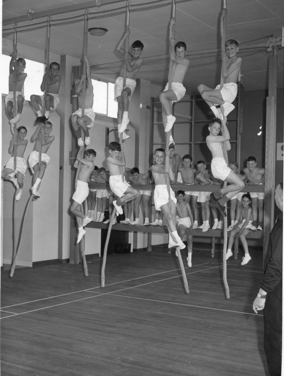 Retro boys PE class circa 1950.