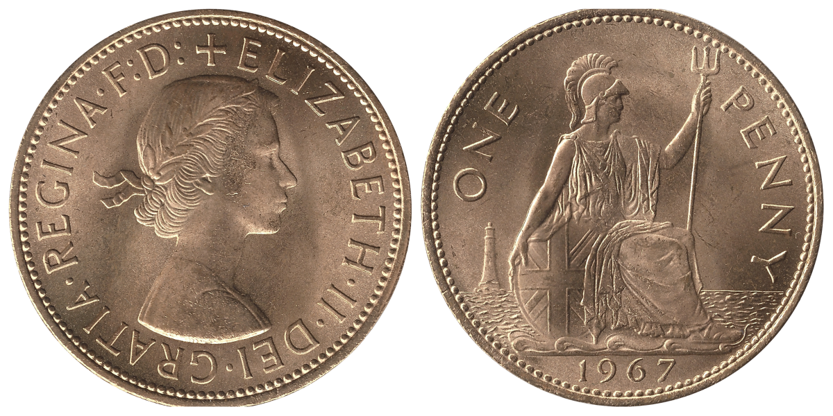 A pre-decimal penny minted in 1967