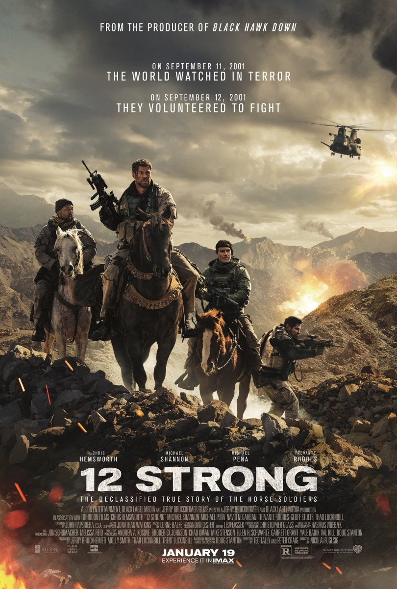 "The official theatrical poster for ""12 Strong."""