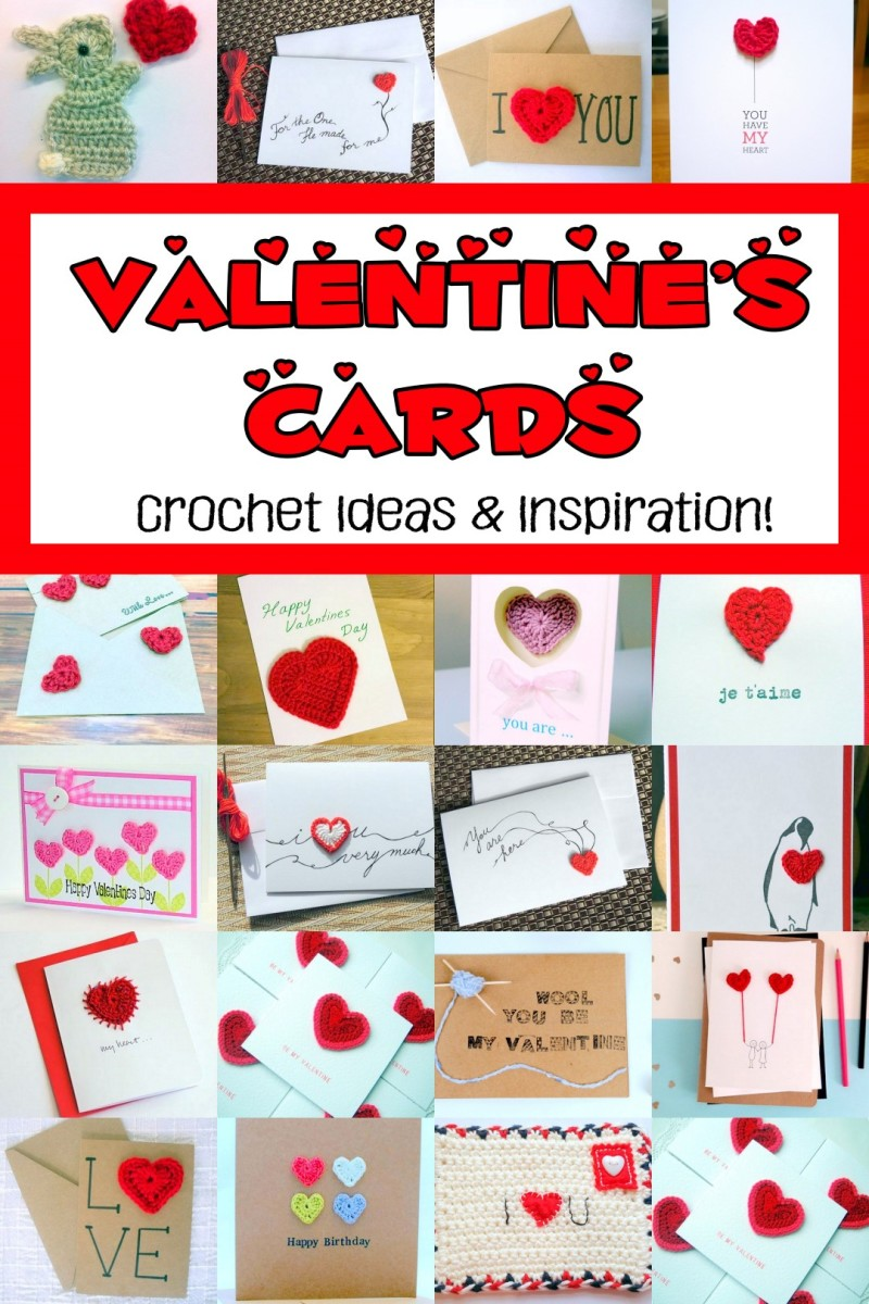 Crochet Valentine Cards Inspiration