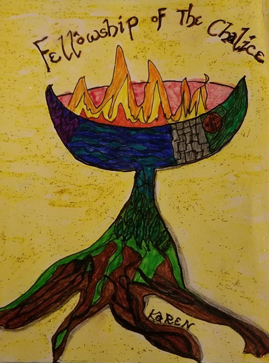 Colored-in Zentangle UU chalice drawn by Seafarer Mama in August of 2017