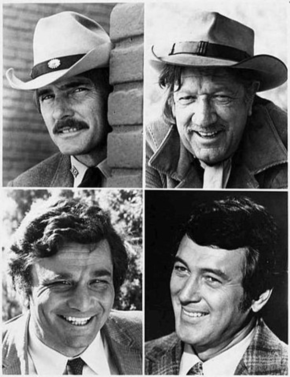The NBC Sunday Mystery Movie program worked on a rotating basis  one per month from each of its shows  Top left, Dennis Weaver in McCloud; Richard Boone in Hec Ramsey;  Bottomm  leff Peter Falk in Columbo, Just notice their teeth.