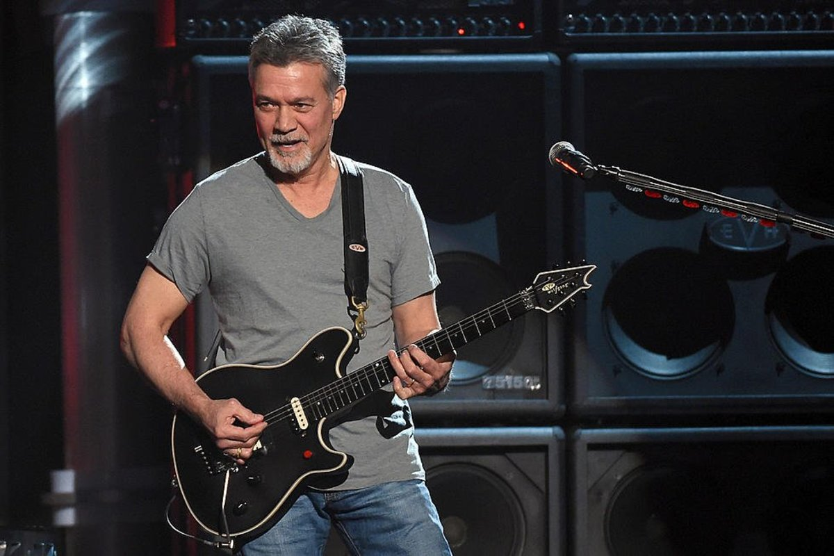 Eddie Van Halen and his EVH USA Wolfgang guitar.