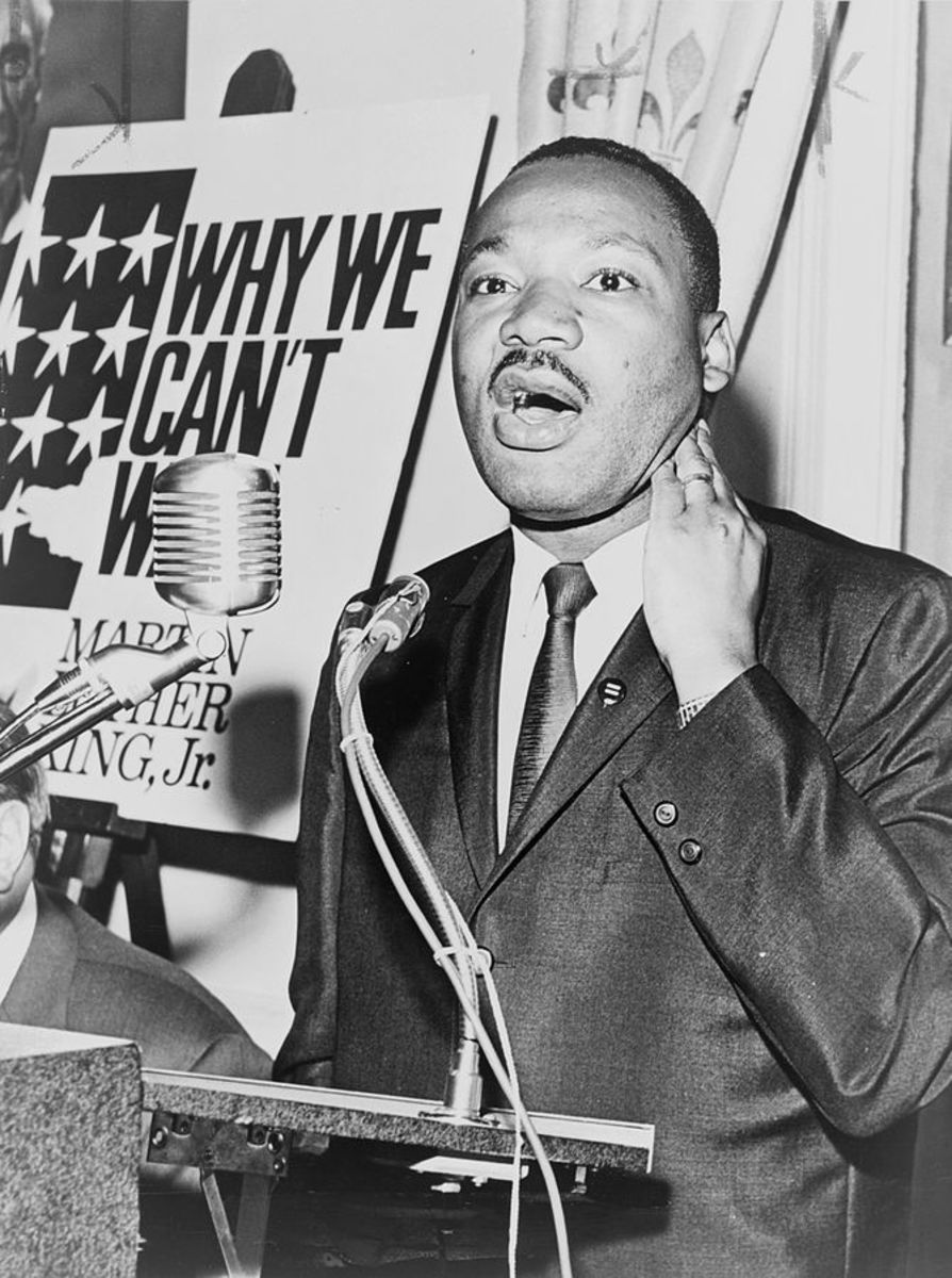 Dr. Martin Luther King--Champion of the Civil Rights demonstrations to exhibit peaceful marches to give people of all races equal rights and respect.
