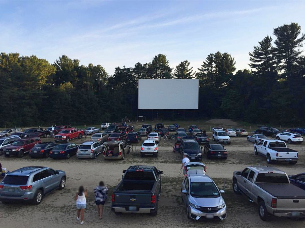 Milford Drive-In Theater at dusk.