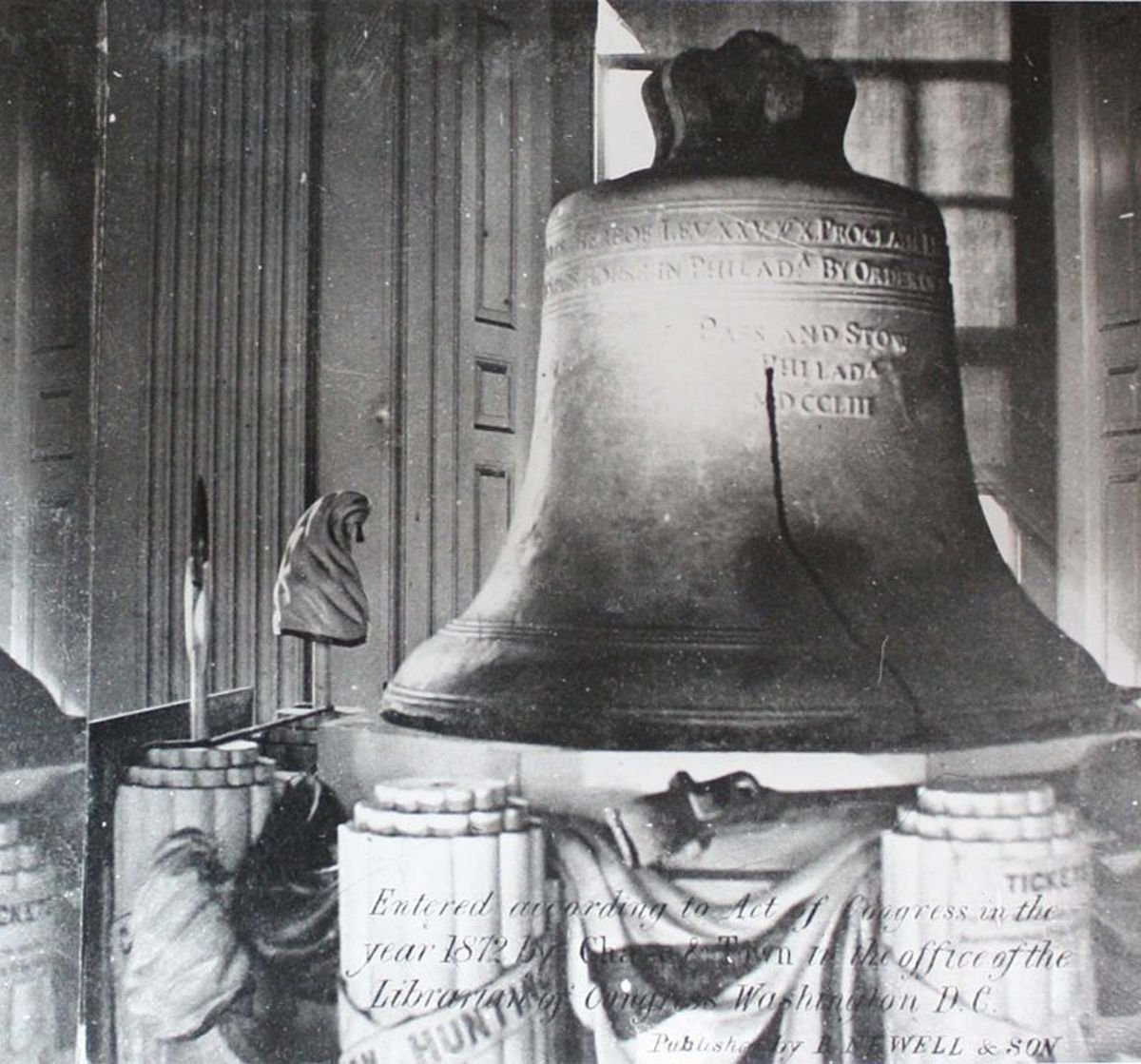The Liberty Bell on its stand at Independence National Historic Park Library and Archives, Philadelphia PA.