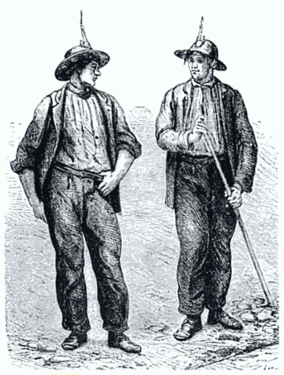 Cornish miners in the mid-19th century. A demise in mining in Cornwall prompted an exodus of Cornish miners and families resulting in a displaced Cornish diaspora.