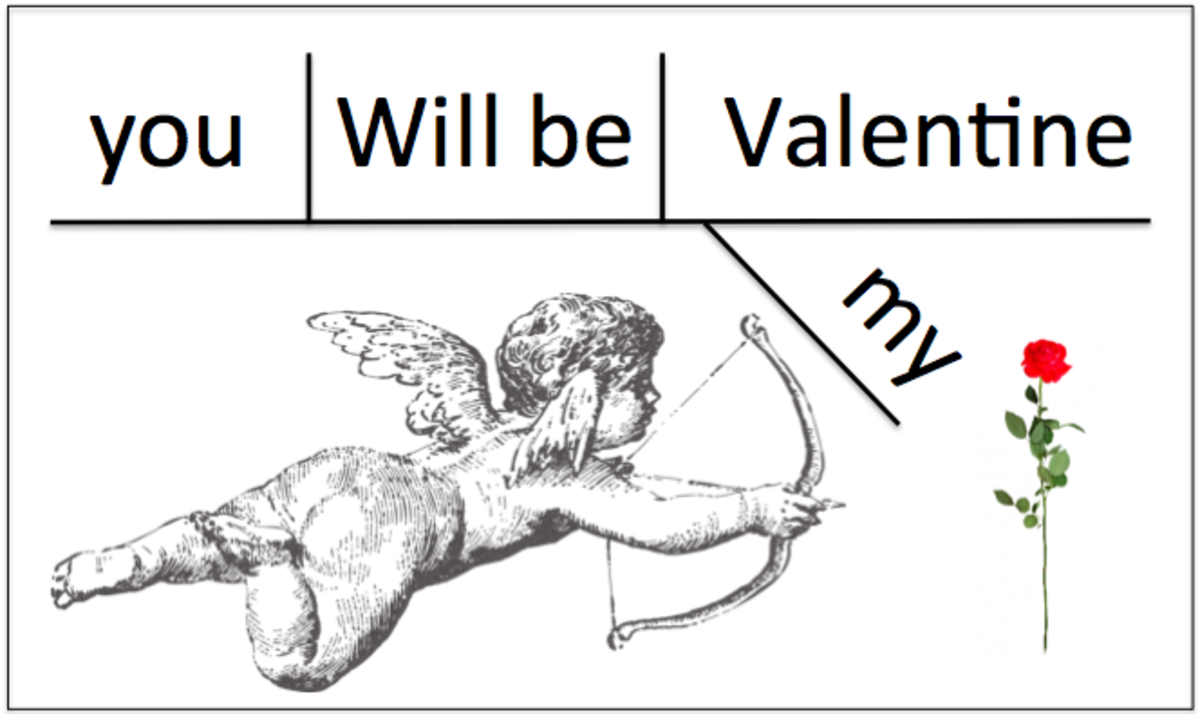 "This is a diagrammed sentence frame of the much anticipated Valentine's Day question, ""Will you be my Valentine?"""