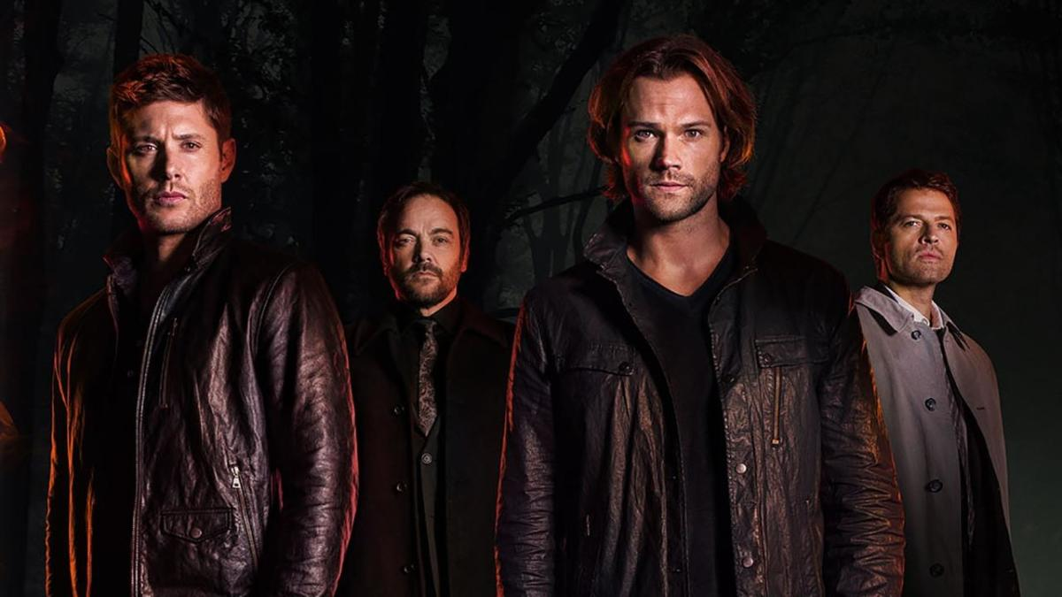 Sam and Dean Winchester with a devil and angel on their shoulders