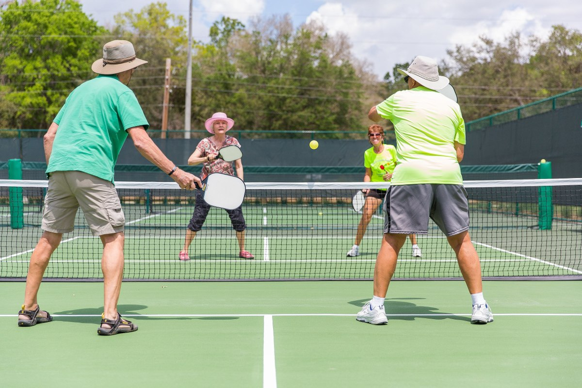 A doubles game of pickleball.