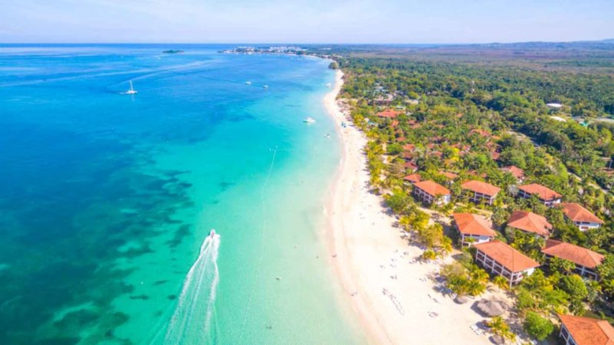 View of Negril Beach from Helicopter