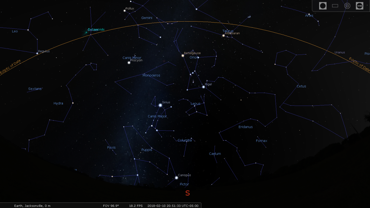 Figure 1: The area around Orion and the ecliptic
