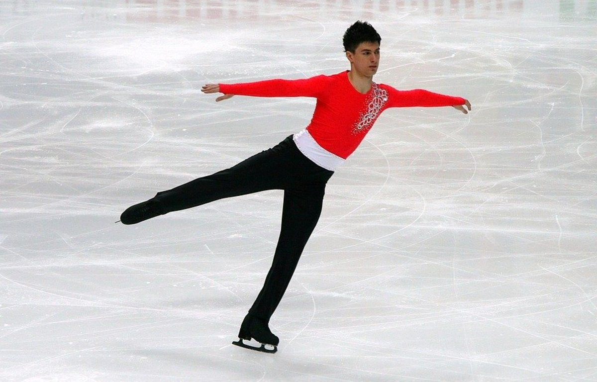 This is a male ice skater. Notice his style. Now look at the female ice skater at the photo at the bottom.
