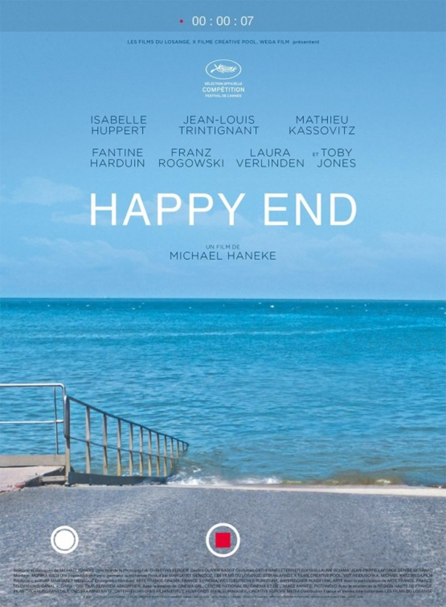 "The official theatrical poster for Michael Haneke's, ""Happy End."""