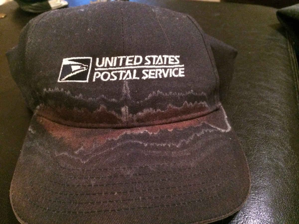 The U.S. Postal Service doesn't provide its temporary workers with uniforms, but it does give them a hat. This hat was encrusted with sweat after a couple of weeks working in the summer heat.