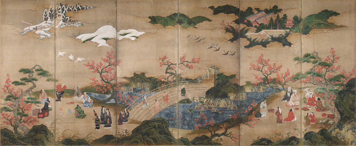 An old Japanese painting showing maple viewers.