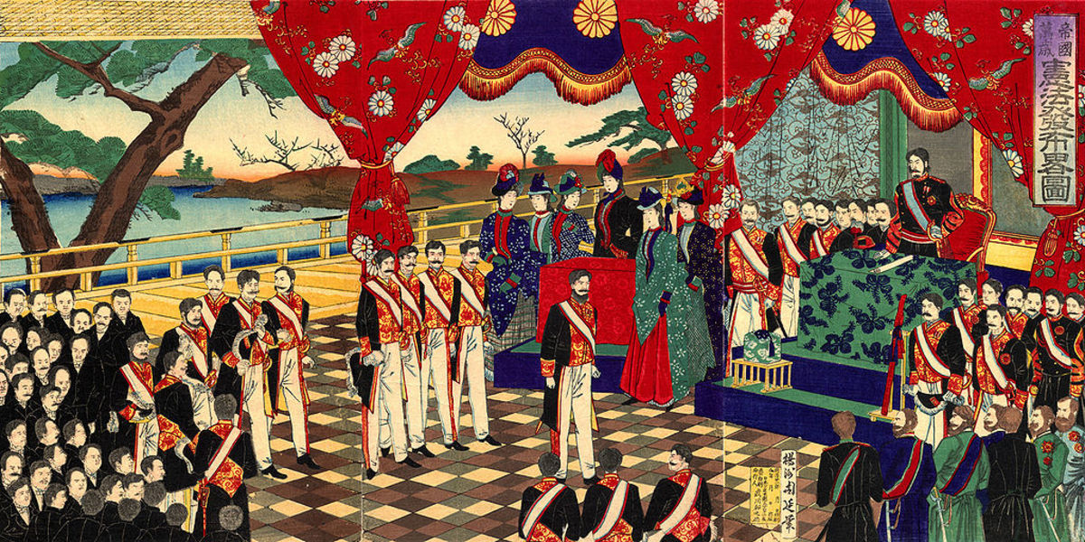 The Meiji constitution of 1889 is promulgated : liberal, conservative, with a heavy incorporation of Western thought and the Japanese created ideology of the imperial-familial state, it serves as a good metaphor for the Meiji restoration.