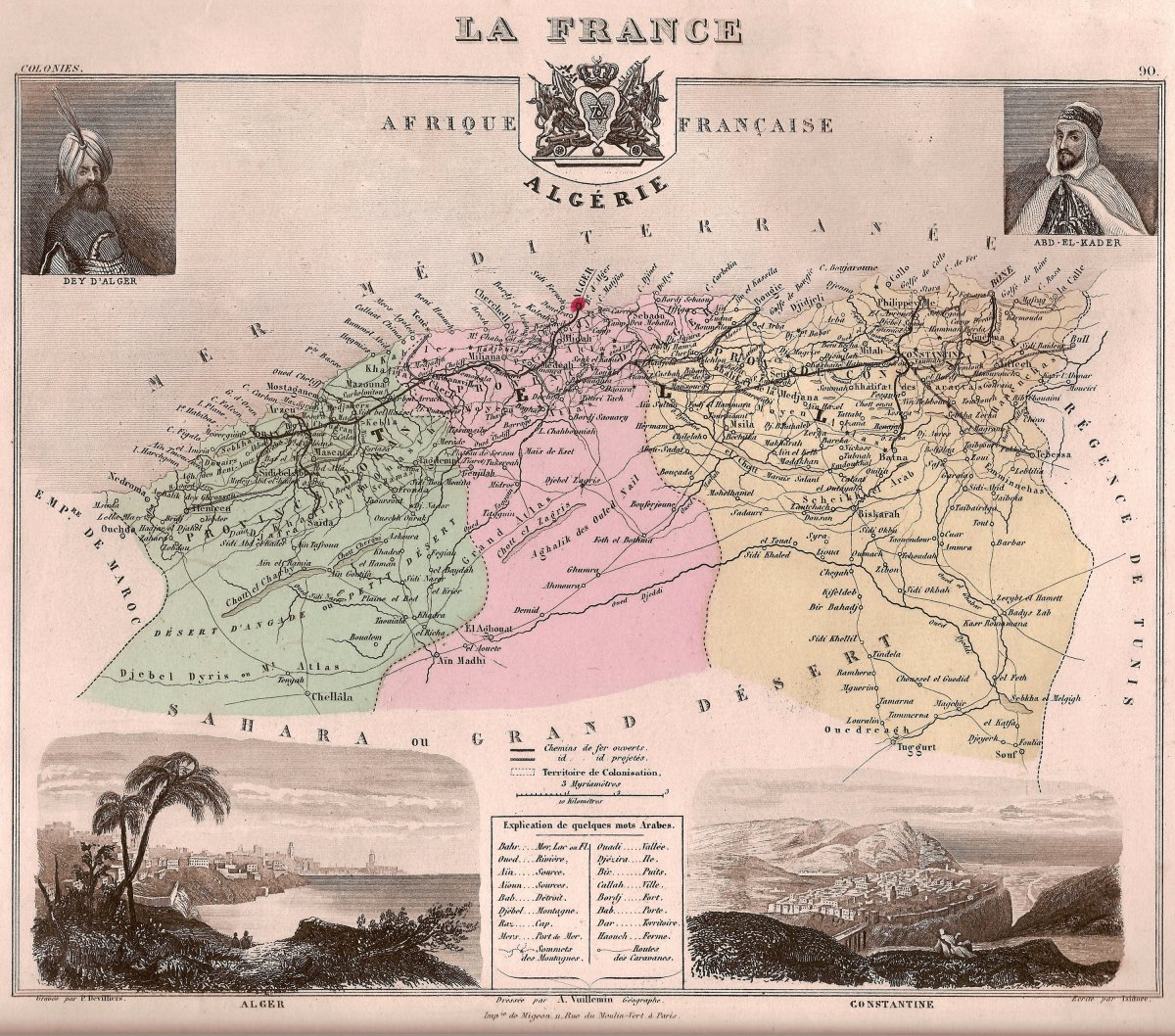 A map of French Algeria and French departments there.