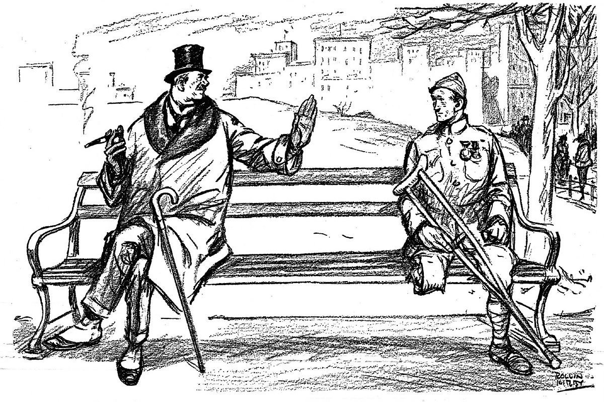 "A 1919 cartoon from Life. The businessman tells the veteran ""The war is over my boy. Forget it."""
