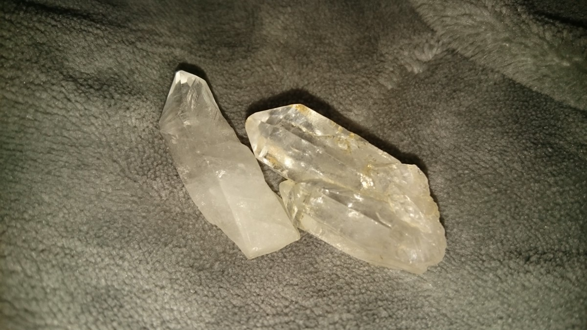 A quartz point and cathedral quartz.