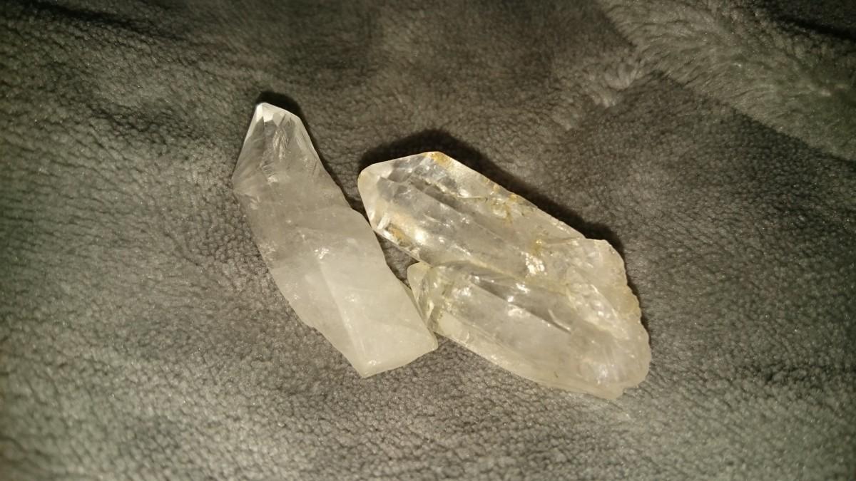 A quartz point and cathedral quartz.