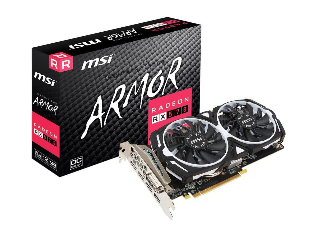 MSI RX 570 Armor OC 8GB Graphics Card