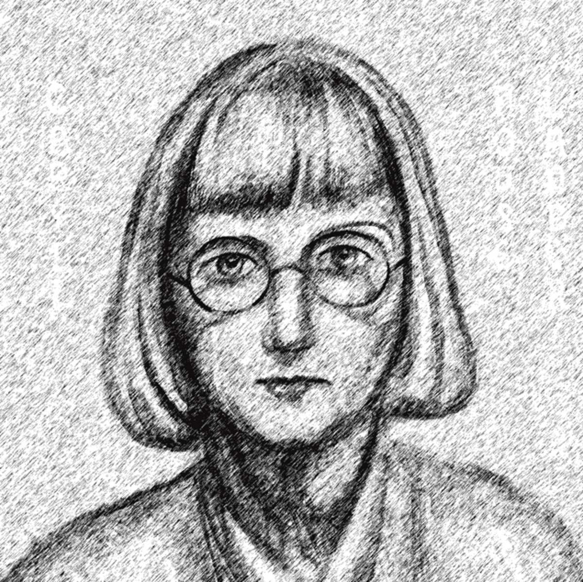 Caryll Houselander's thick glasses magnified her eyes.