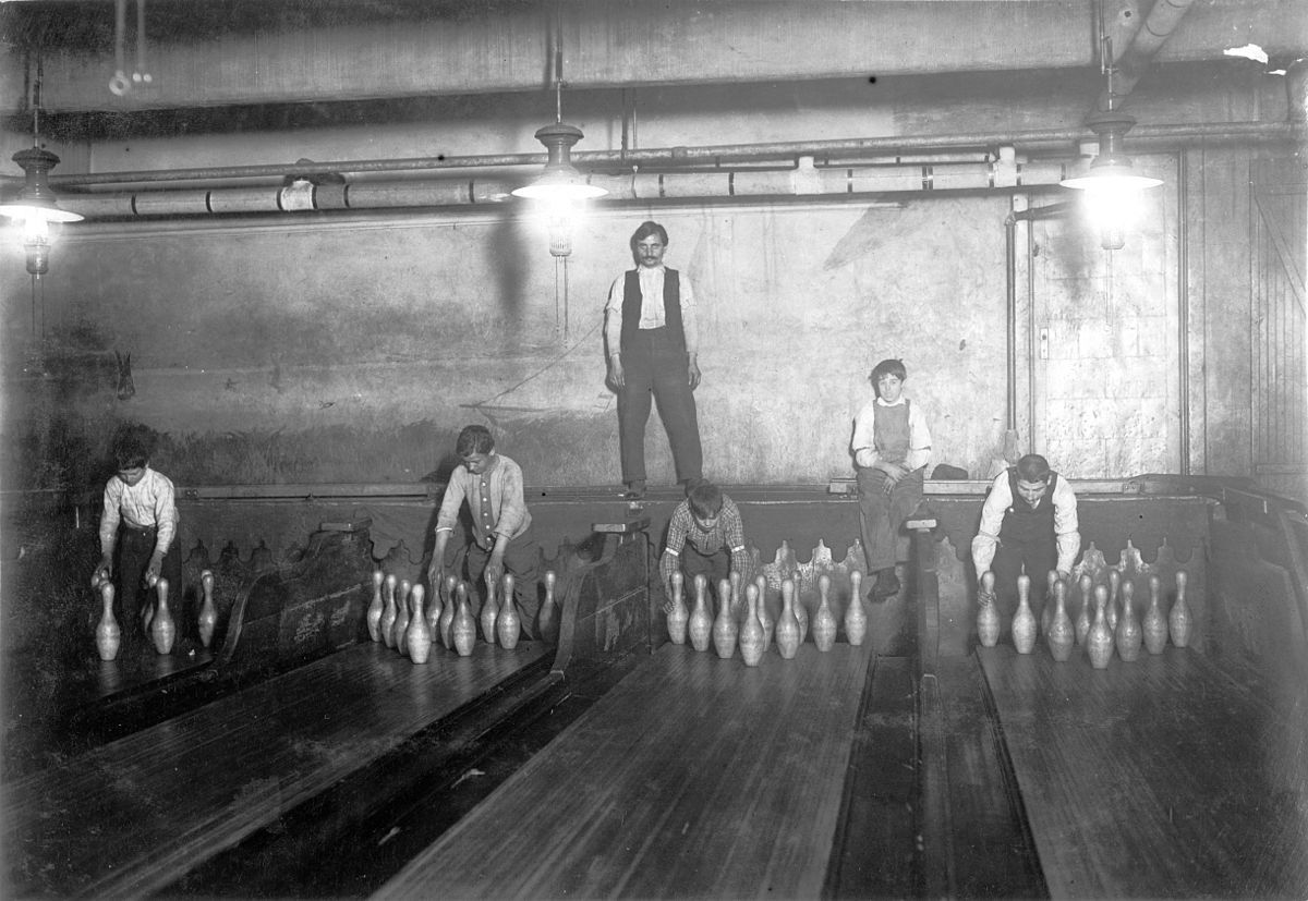 Early Day Pinsetters at a Bowling Alley in New York, 1910s