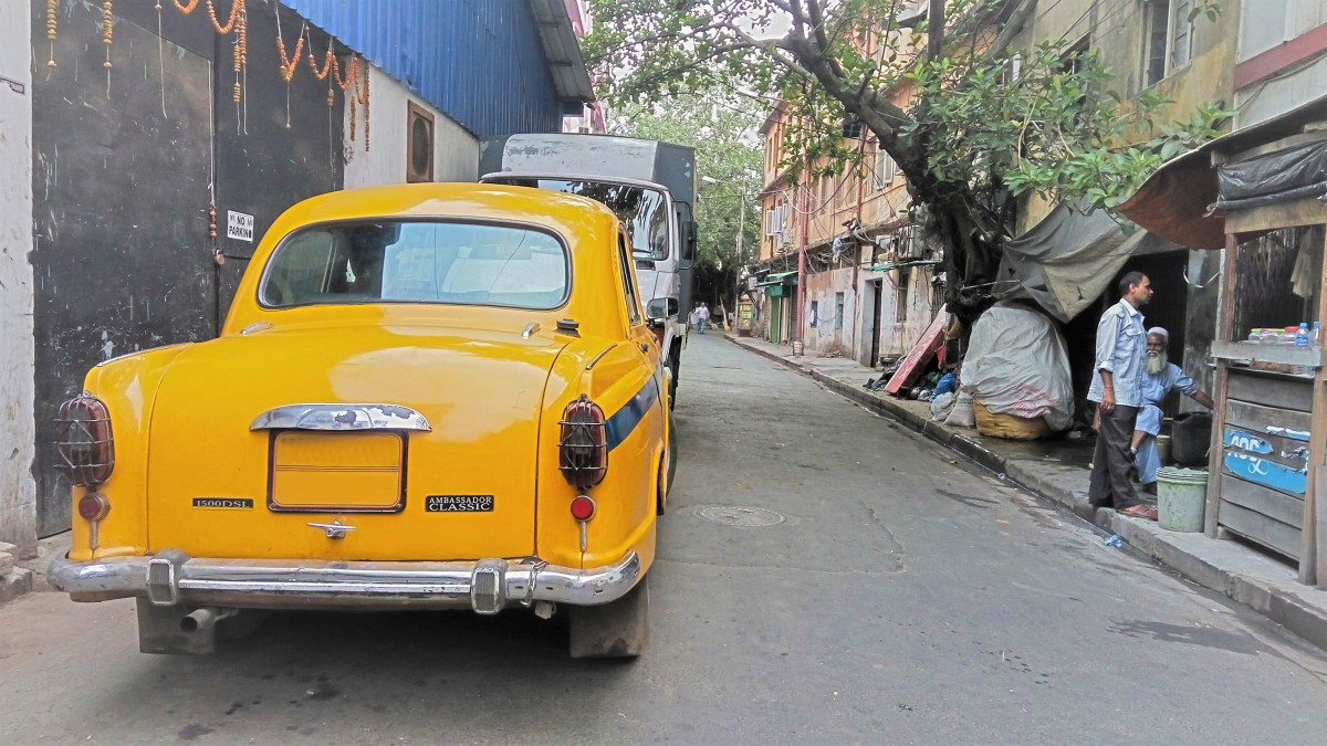 One of the signature yellow Ambassador Classic cabs that roam through the streets in Calcutta.
