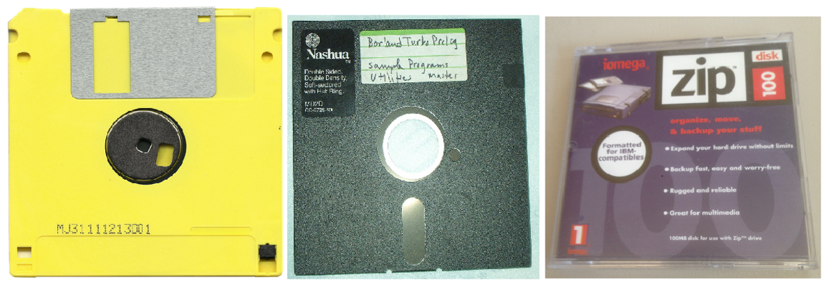 Three obsolete storage media: 3.5 inch floppy disk (Left), 5.25 inch floppy disk (Center), Zip Drive (Right)