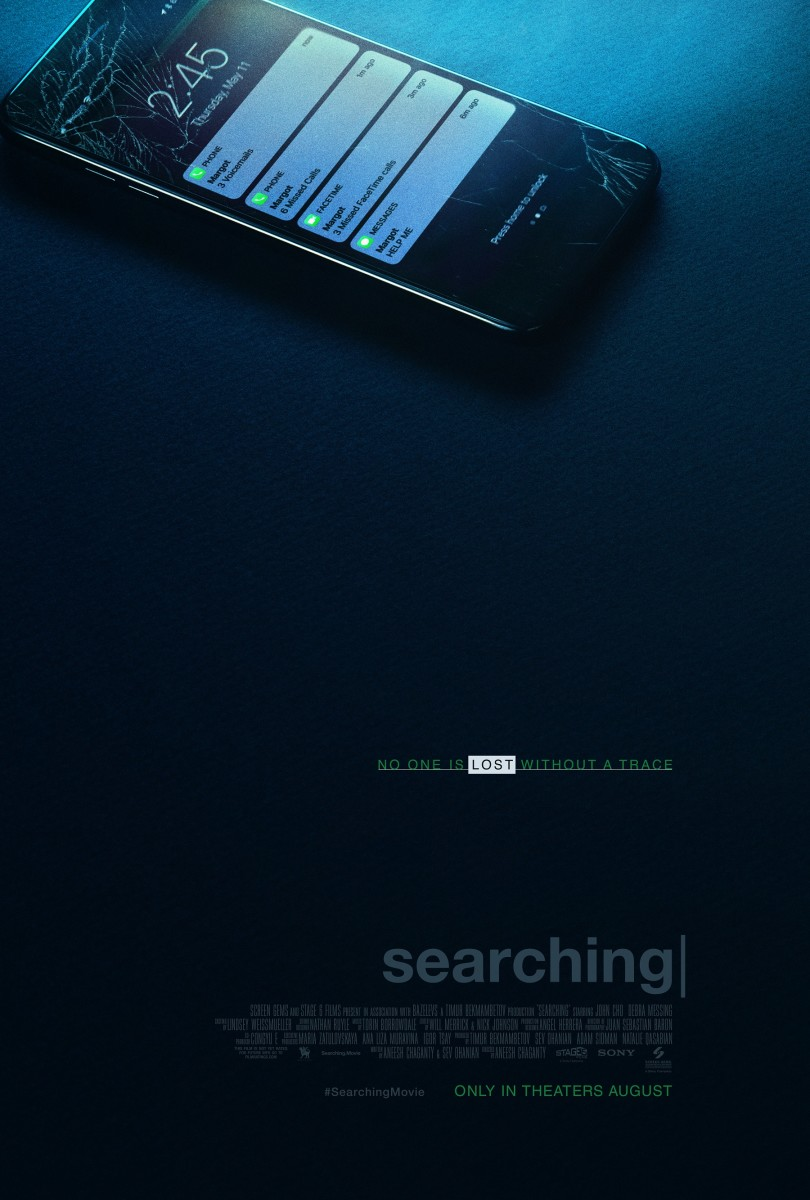 """The official one-sheet theatrical poster for, """"Searching."""""""