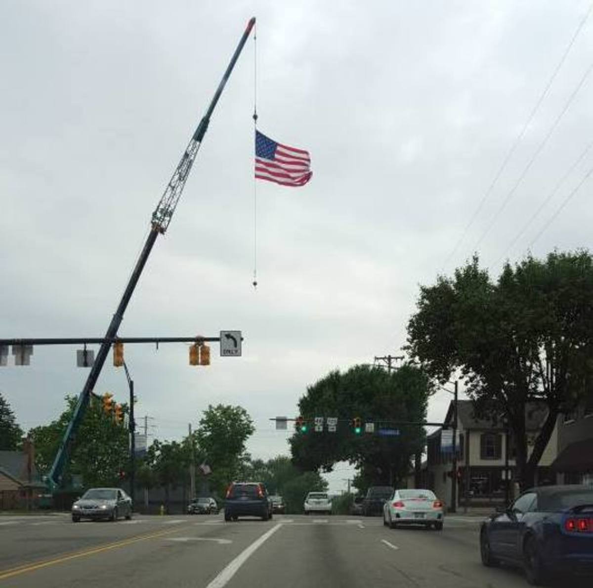 In my little town, the American flag flies high for the Fourth of July!