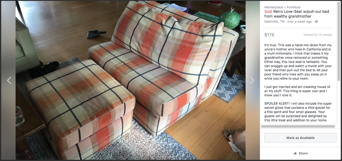 Selling Couch on Craigslist or Facebook Marketplace