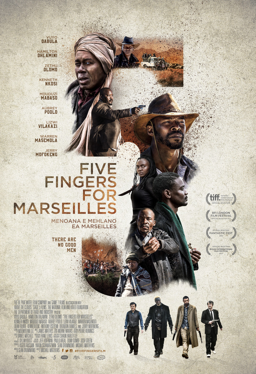 "The official theatrical poster for, ""Five Fingers for Marseilles."""