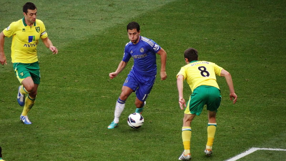 This picture was taken during the 2011/2012 and shows Eden Hazard of Chelsea taking on Norwich City's Jonny Howson.