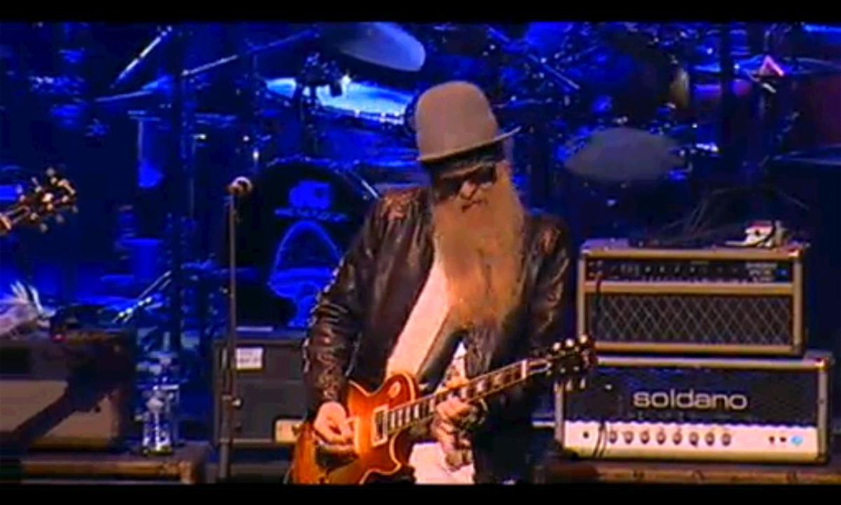 Billy Gibbons with one of his many Les Paul guitars.