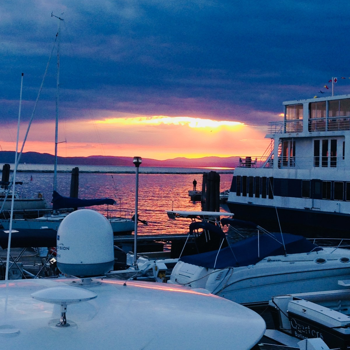 Taking in a gorgeous sunset over the water in Burlington.